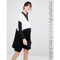 Bluebelle MaternityOversized Colour Block Dress - Black