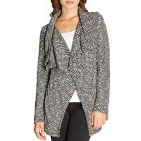 BobeauShawl-Collar Textured Herringbone Jacket, Black