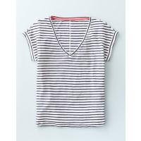 BodenLeinen-T-Shirt mit V-Ausschnitt Gestreift Damen Boden