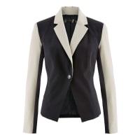 BonprixBlazer bicolor preto manga longa com decote V