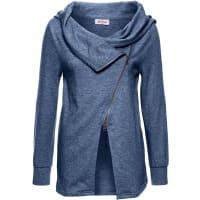 John Baner JeanswearDames sweatvest lange mouw in blauw - John Baner JEANSWEAR