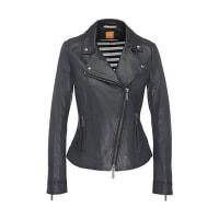 Boss Orange by Hugo BossLeather biker-look jacket with lapel collar: Jamela2