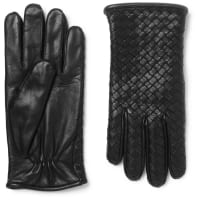 Bottega VenetaCashmere-lined Intrecciato Leather Gloves - Schwarz