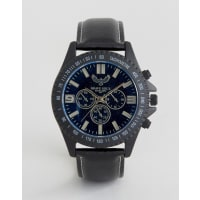 Brave SoulBlack Watch with Imitation Inner Dials - Black