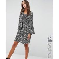 Brave SoulSmock Dress With Frill Sleeves - Black