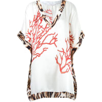 Brigittev-neck printed beach dress, Womens, Size: Medium, White, Modal/Silk