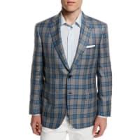 BrioniPlaid Two-Button Cashmere-Blend Jacket, Gray/Light Blue