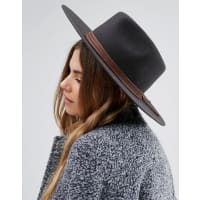 BrixtonDrover Fedora with Real Leather Trim - Black