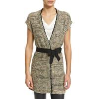 Brunello CucinelliBelted Vest W/Sequined Trim, Butter/Black