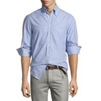 Brunello CucinelliTwill Multi-Check Shirt, Blue