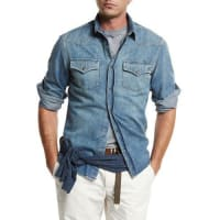 Brunello CucinelliWestern-Style Button-Down Denim Shirt, Powder Blue