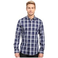 BugatchiFilipo Long Sleeve Woven Shirt (Navy) Mens Long Sleeve Button Up