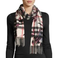 BurberryCashmere Check & Floral Fringe Scarf, Light Gray