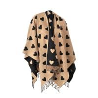 BurberryCollette Heart Jacquard Wool Cape 135x130 cm