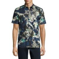 BurberryEvertons Graffiti Camouflage Short-Sleeve Sport Shirt, Navy