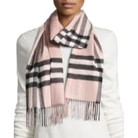 BurberryGiant Check Cashmere Scarf, Rose