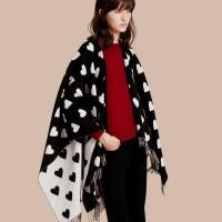 BurberryHeart Jacquard Merino Wool Poncho
