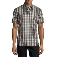 BurberryHeybridge Plaid Short-Sleeve Sport Shirt, Black