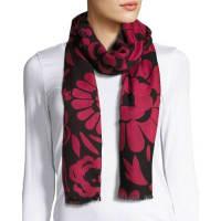 BurberryLarge Floral Cashmere Scarf, Black/Pink