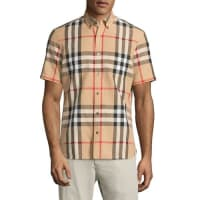 BurberryLinen-Blend Exploded Check Short-Sleeve Shirt, Camel