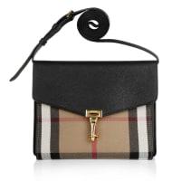 BurberryTasche - Macken Crossbody House Check Derby Leather Small Black - in schwarz - Umhängetasche für Damen