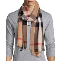 BurberryMens Cashmere/Wool-Blend Lightweight Mega-Check Scarf, Camel