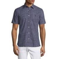 BurberryMicro-Dot Short-Sleeve Shirt, Navy
