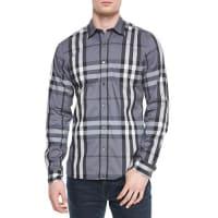 BurberryNelson Woven Check Sport Shirt, Charcoal