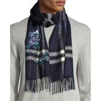 BurberryPeony Flower-Embroidered Giant Check Cashmere Scarf, Indigo Blue