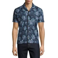 BurberryPeony Short-Sleeve Pajama-Style Shirt, Blue