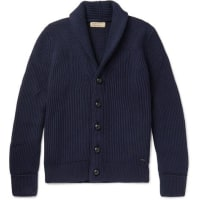 BurberryShawl-collar Ribbed Wool And Silk-blend Cardigan - Navy