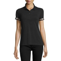 BurberrySlim-Fit Polo Shirt with Check Trim, Black