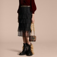 BurberryTiered Braided Tulle Column Skirt with Ruffles