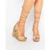 Call It SpringCall It Spring Treawen Ghillie Lace Up Wedge Sandals - Tan