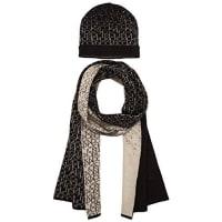 Calvin Klein JeansLogo Gift Set, Conjunto Bufanda, Gorro y Guantes para Mujer, Negro (Black 001), Talla Única