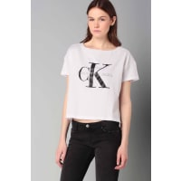 Calvin KleinKurzarm Tops - j2ij202093square cut tee - Weiß / Naturfarben