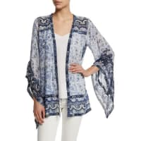 Calypso St. BarthAmantha Open-Front Printed Jacket, Coconut