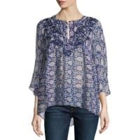 Calypso St. BarthBarosa Printed Silk Blouse, Indigo/Purple