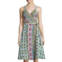 Calypso St. BarthIvara Linen Printed Wrap Dress, Coconut