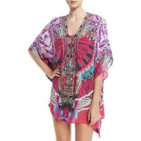 CamillaEmbellished Lace-Up Silk Caftan Coverup, Desert Discotheque