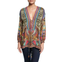 CamillaEmbellished Lace-Up Silk Top, Kingdom Call