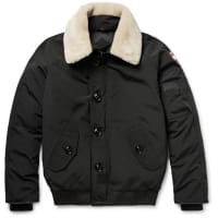 Canada GooseFoxe Shearling And Leather-trimmed Shell Down Bomber Jacket - Black