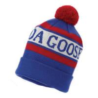 Canada GooseStitched-Logo Wool Pom-Pom Beanie Hat, White/Blue/Red