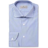 CanaliBlue Slim-fit Bengal-striped Cotton-poplin Shirt - Blue