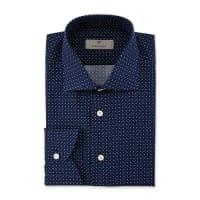 CanaliModern Fit Pine-Print Dress Shirt, Navy