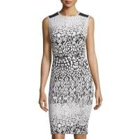 Carmen Marc ValvoPrinted Mesh-Shoulder Sheath Dress, Black/White