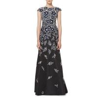 Carolina HerreraFloral Patchwork Cap-Sleeve Gown, Black/Navy