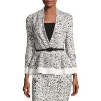 Carolina HerreraSplatter-Print Peplum Jacket, White/Black