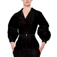 Carolina HerreraSilk Faille Balloon-Sleeve Blouse, Black