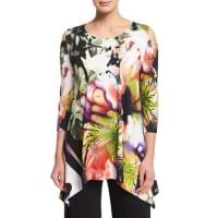 Caroline RoseCold-Shoulder Alfresco-Print Tunic Top, Petite